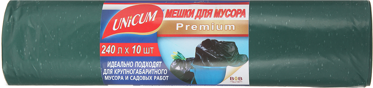 """Мешки для мусора Unicum """"Premium"""", цвет: зеленый, 240 л, 10 шт"""