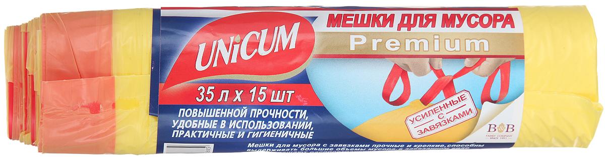 Мешки для мусора Unicum Premium, с завязками, цвет: желтый, 35 л, 15 шт305488Мешки для мусора Unicum Premium выполнены из первичного полиэтилена высокого давления. Мешки прочные и крепкие, способны выдерживать большие объемы мусора. Благодаря прочным ручкам удобны в переноске, в завязанном виде предотвращают распространение неприятного запаха. Возможно использование для временного хранения вещей. Материал: первичный полиэтилен высокого давления.Количество: 15 шт.