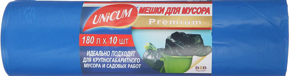 Мешки для мусора Unicum Premium, цвет: синий, 180 л, 10 шт305518Мешки для мусора Unicum Premium выполнены из полиэтилена высокого давления. Мешки прочные и крепкие, способны выдерживать большие объемы мусора, удобны в использовании. Возможно использование для временного хранения вещей. Идеально подходят для крупногабаритного мусора и садовых работ.Материал: полиэтилен высокого давления.Количество: 10 шт.