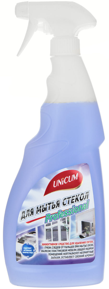 Средство для мытья стекол Unicum, 750 мл300407Средство Unicum высокоэффективное средство для мягкой очистки гладких и блестящих поверхностей - стекла, зеркал, пластика, кафеля, нержавеющей стали и других видов водостойких материалов и покрытий. Средство быстро удаляет следы от высохших капель воды, следы от рук, мягко очищает полимерные покрытия пластиковых окон, придает блеск и оставляет защитный нанослой, препятствующий налипанию пыли.Состав: вода деминерализованная, менее 5% АПАВ, 5-15% растворители, менее 5% функциональная добавка, менее 5% ароматизатор, менее 5% краситель, менее 5% консервант.Товар сертифицирован.