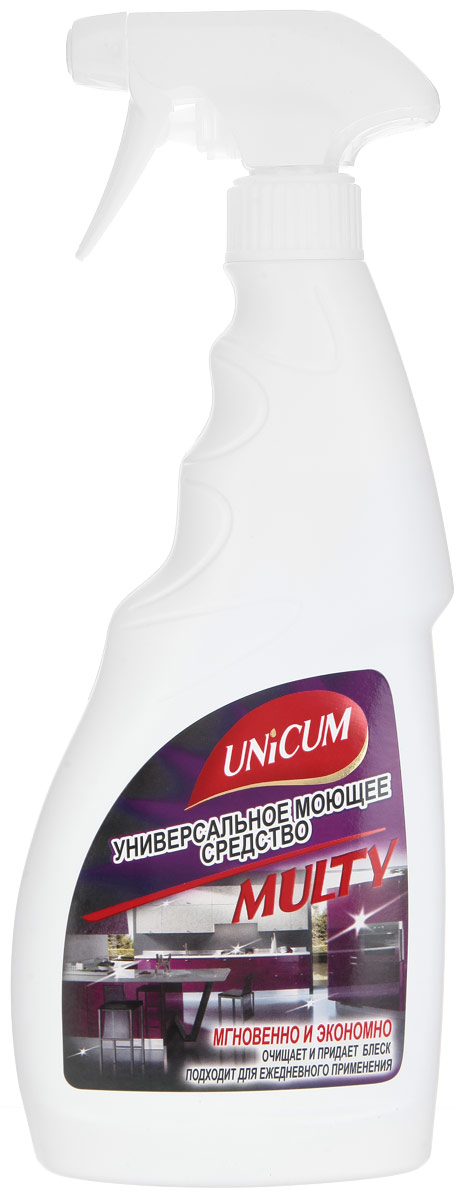 Универсальное моющее средство Unicum Multy, 500 мл301022Универсальное моющее средство Unicum Multy - мгновенно очищает и придает блеск любым поверхностям. Подходит для ежедневной уборки кухонных поверхностей из стекла, керамики, металла и пластика: стола, плиты, раковины, кафельной плитки, кухонных принадлежностей из фарфора, внутренних и внешних поверхностей СВЧ-печей, холодильника, вентиляционного отверстия, фасада кухонного гарнитура и столешниц. Удаляет жир и известковый налет, а также пятна от пищевых продуктов не повреждая поверхность, создает защитный слой. Устраняет неприятные запахи.Состав: деминерализованная вода, менее 5% НПАВ, 5-15% растворитель, менее 5% функциональные добавки, менее 5% краситель, менее 5% консервант, менее 5% ароматизатор.Товар сертифицирован.