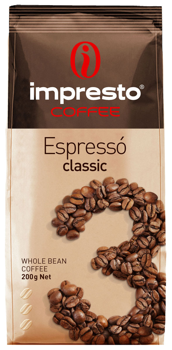 Impresto Espresso Classic кофе в зернах, 200 гCIMPCH-000007Традиционный итальянский эспрессо с мягким и бархатистым характером. Вы узнаете его по благородному вкусу, идеальной воздушной кремаи необыкновенному аромату с нотами пряностейи шоколада. Страна: Бразилия, Уганда.Коллекция Impresto – это особая линейка с оригинальными рецептурами из 100% арабики и сбалансированных купажей с робустой, а также декофеинизированный кофе и фильтр-смеси. Мы с радостью предоставляем возможность каждому ценителю кофе приготовить дома превосходный утренний американо, послеобеденную чашечку эспрессо и вечерний кофе с молоком. Купажи Impresto – это зерно с лучших плантаций мира, мастерство европейского обжарщика, тщательное купажирование и высокотехнологичное производство с приверженностью к итальянским кофейным традициям. Impresto – это не только качественный кофе, но и бренд с насыщенной эмоциональной составляющей. Impressive, rest, espresso, restaurant, presto – все это несет в себе Impresto. Новый кофе Impresto – это идеальный выбор современных и динамичных людей, которые любят и умеют ценить действительно вкусный кофе.