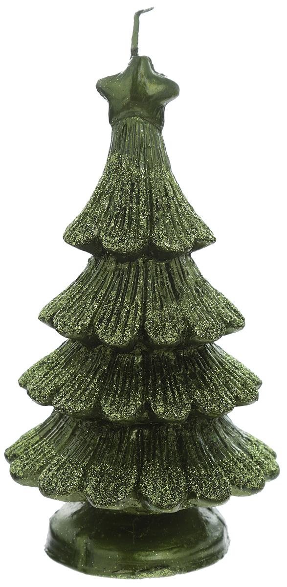 Свеча Winter Wings Елка, цвет: зеленый, высота 14 см свеча winter wings снеговик светящаяся внутри 70х120 мм n161412 в ассортименте