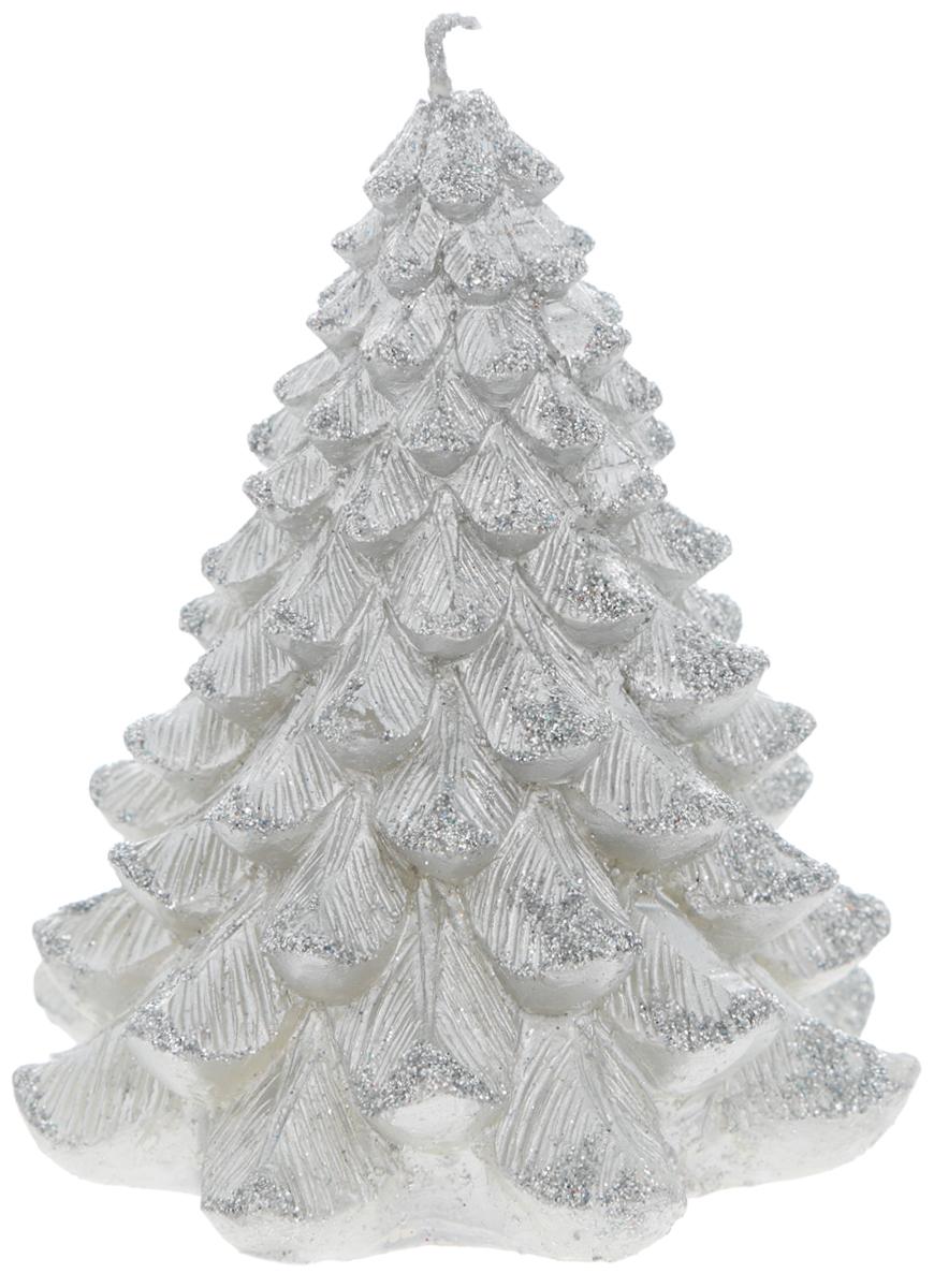 Свеча Winter Wings Елка, цвет: серебристый, высота 9 см