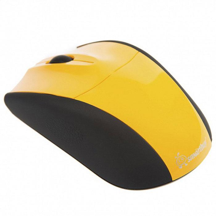 SmartBuy SBM-325AG, Yellow мышьSBM-325AG-YБеспроводная оптическая мышь SmartBuy SBM-325AG подходит для работы с ноутбуком и ПК. Эргономичная форма позволяет комфортно работать с мышью на протяжении длительного времени. Оптический сенсор способствует точному позиционированию курсора практически на любых поверхностях. Функция энергосбережения помогает продлить срок службы батареек. Мышь не требует установки драйверов и работает от мини-ресивера, который благодаря своим компактным размерам можно оставлять подключенным к порту ПК.