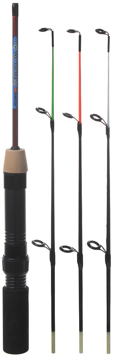 Удочка зимняя SWD Ice action, 55 см28414Удочка SWD Ice action предназначена для зимней рыбалки. Изделие укомплектовано пропускными кольцами, тюльпаном и винтовым катушкодержателем. Ручка изготовлена из неопрена. В сложенном виде изделие не занимает много места. В комплекте 3 хлыстика различной жесткости и чехол.