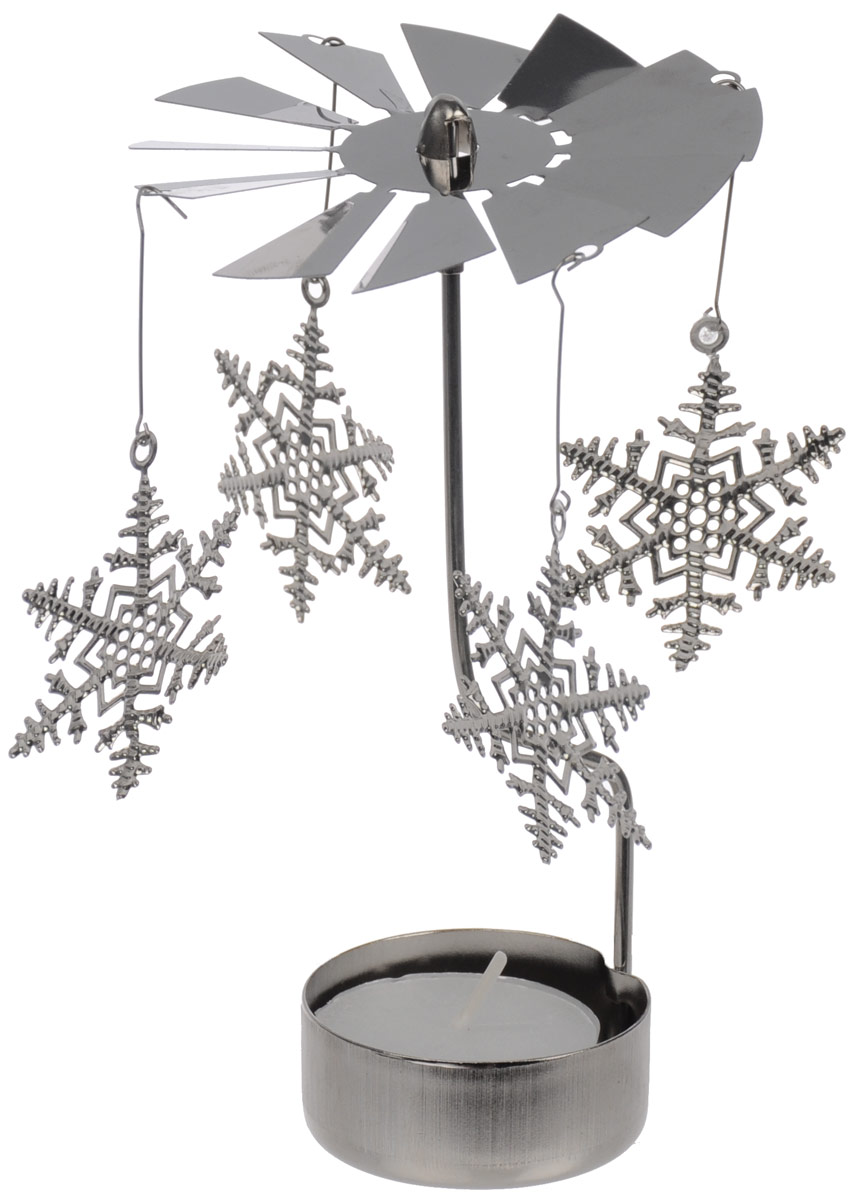 Вертушка с чайной свечой Gardman Снежинки19691XSВертушка с чайной свечой Gardman Снежинки станет отличным дополнением интерьера и создаст праздничное настроение в вашем доме. Изделие выполнено из нержавеющей стали в виде вертушки, на которую подвешиваются снежинки. Декоративные снежинки вращаются благодаря горению свечи. Свеча входит в комплект.Диаметр вертушки: 8 см.Высота изделия: 14 см.Диаметр снежинок: 5 см.