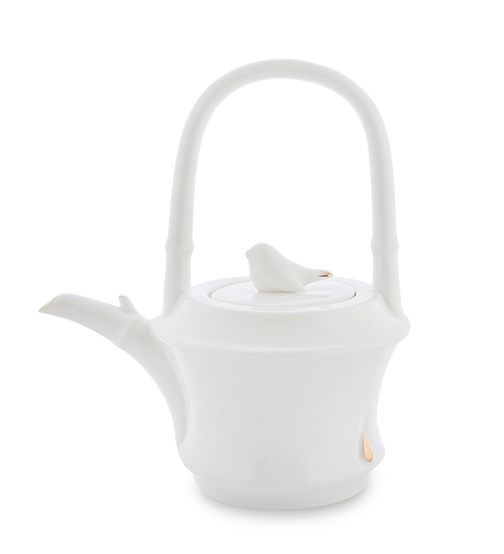 Чайник заварочный Pavone Бамбук, цвет: белый, золотой, 700 мл104875Чайник заварочный Pavone Бамбук изготовлен из высококачественной фарфора. Носик изделия украшен золотистой окантовкой, а крышка декорирована фигуркой голубя. Чайник оснащен высокой не складывающейся ручкой. Такой чайник прекрасно дополнит сервировку стола к чаепитию и станет его неизменным атрибутом.Изделие упаковано в подарочную коробку с атласной подложкой. Объем: 700 мл. Диаметр (по верхнему краю): 6,5 см. Высота стенки (без учета крышки): 10 см.
