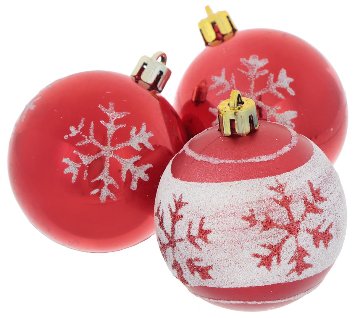 Набор новогодних подвесных украшений EuroHouse Снежинки, цвет: белый, красный, диаметр 6 см, 3 штЕХ9268_1 красный/2 красный, белыйНабор новогодних подвесных украшений EuroHouse прекрасно подойдет для праздничного декора новогодней ели. Набор состоит из 2 пластиковых украшений в виде глянцевых шаров и 1 матового с белой полоской.Для удобного размещения на елке для каждого изделия предусмотрена текстильная петелька.Елочная игрушка - символ Нового года. Она несет в себе волшебство и красоту праздника. Создайте в своем доме атмосферу веселья и радости, украшая новогоднюю елку нарядными игрушками, которые будут из года в год накапливать теплоту воспоминаний.