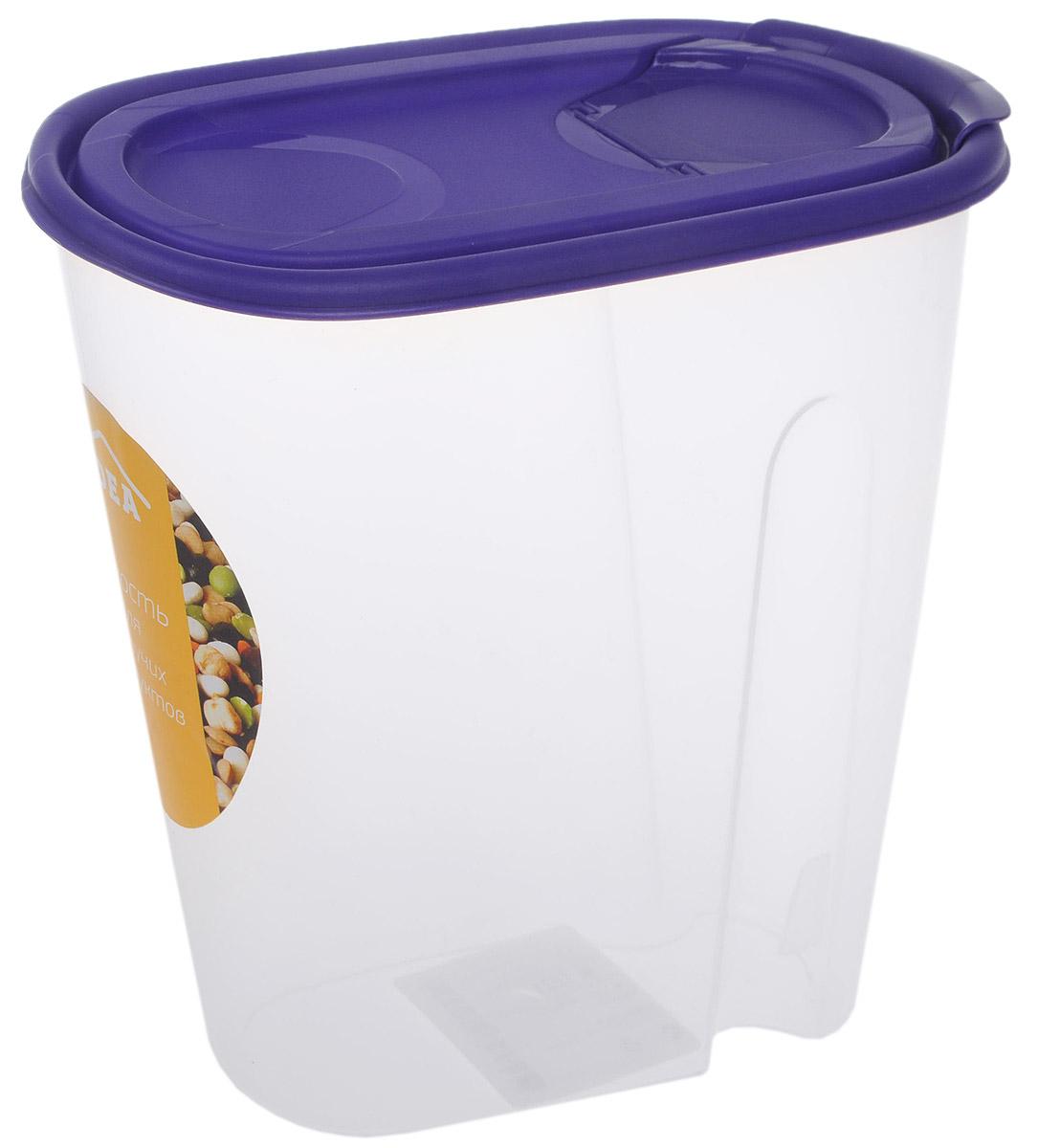 Емкость для сыпучих продуктов Idea, цвет: фиолетовый, прозрачный, 1,5 л емкость для сыпучих продуктов idea деко цветы 1 л