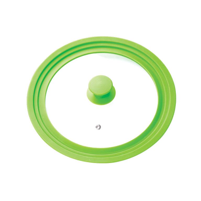 Крышка универсальная Miolla, цвет: зеленый, для сковород и кастрюль диаметром 16, 18, 20 см1015019UКрышка Miolla подходит в качестве универсальной крышки к сковородам и кастрюлям диаметром 16, 18, 20 см. Изготовлена из огнеупорного стекла с высококачественным силиконовым ободом. Имеет одно отверстие для выхода пара. Ручка не нагревается.Можно мыть в посудомоечной машине. Подходит для использования в духовке до 180°С.Невероятно красивые, стильные и функциональные товары бренда Miolla помогут создать дома атмосферу уюта. Современные, продуманные решения для уборки ваших квартир - всё, о чем мечтает каждая хозяйка!