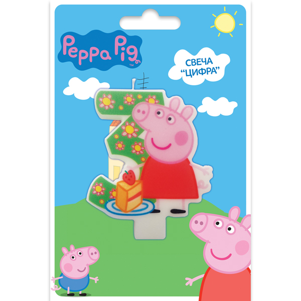 Peppa Pig Свеча для торта детская Цифра 3 peppa pig велосипед 1toy peppa 3 хкол пласт кол 10 8 132452