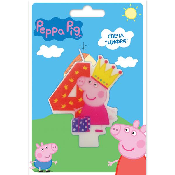 Peppa Pig Свеча для торта Цифра 4 пати бум свеча для торта мини цифра 8