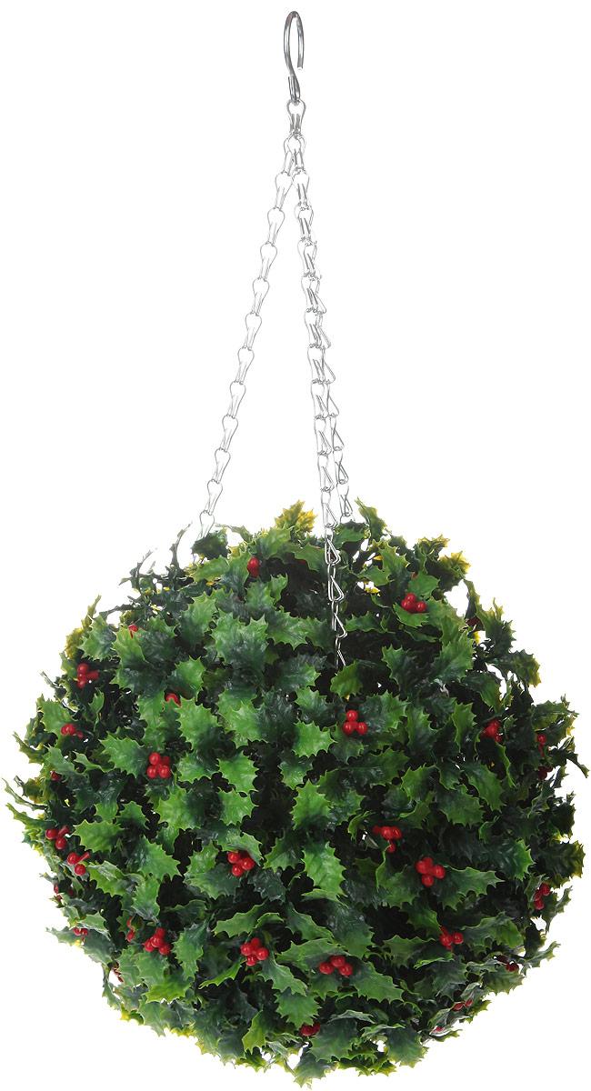 Искусственное растение Gardman Topiary Ball. Омела, цвет: зеленый, красный, диаметр 26 см домик для птиц gardman домик для птиц gardman 24 см