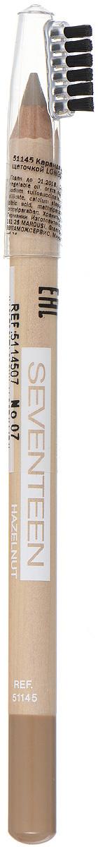 SEVENTEEN Карандаш для бровей с щеточкой т.07 LONGSTAY EYE BROW SHAPERореховый, 1,14 грB2539101Seventeen Longstay Eye Brow Shaper - это специальный карандаш для создания идеального контура бровей. Уникальная текстура и состав содержащий пудру, делает продукт более стойким. Обладает водонепроницаемыми свойствами и отличной цветопередачей. При нанесении не царапает нежную кожу.Карандаш имеет удобную щеточку-расчестку на колпачке.Товар сертифицирован.Как создать идеальные брови: пошаговая инструкция. Статья OZON Гид