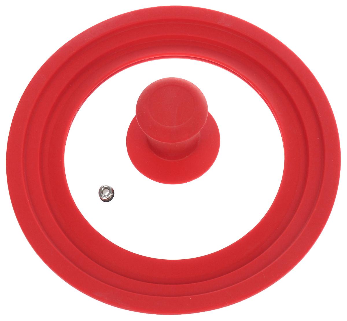 Крышка универсальная Miolla, цвет: красный, для сковород и кастрюль диаметром 16, 18, 20 см1015018UУниверсальная крышка Miolla подходит для сковород и кастрюль диаметром 16 см, 18 см и 20 см. Она изготовлена из огнеупорного стекла с высококачественным силиконовым ободом. Изделие оснащено отверстием для вывода пара и ненагревающейся ручкой. Можно мыть в посудомоечной машине. Подходит для использования в духовке до 180°С.