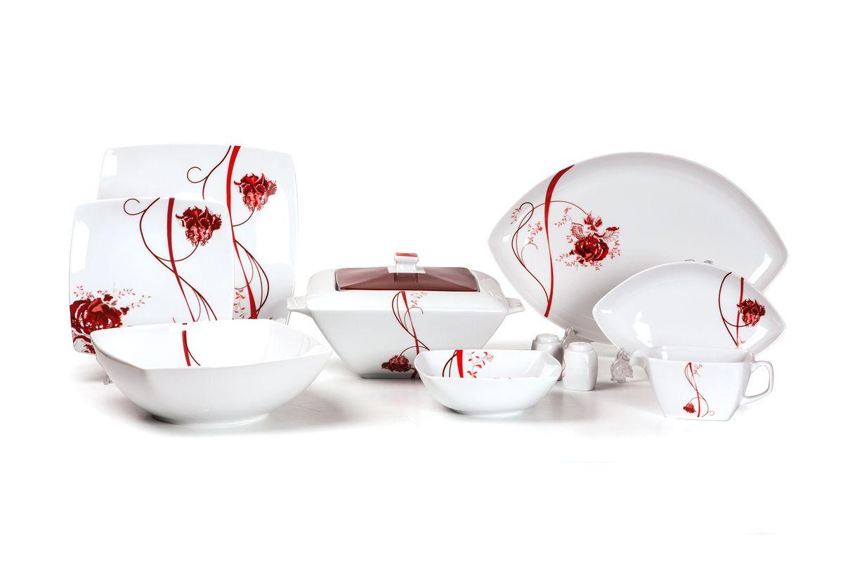 Сервиз столовый 25пр, цвет: белый с красным719125 0753Супница 3,5 л , глубокая тарелка 22 см 6 штук , тарелка 27см 6 штук , десертная тарелка 21см 6 штук , солонка, перечница, Блюдо овальное 24 см, Блюдо овальное 35 см , салатник 25см, соусник 230мл.Элегантная посуда класса люкс теперь на вашем столе каждый день. Сделанные из высококачественного материала с использованием новейших технологий, предметы сервировки Tunisie Porcelaine невероятно прочны и прекрасно подходят для повседневного использования. Материал: фарфор: цвет: белый с краснымСерия: KYOTO
