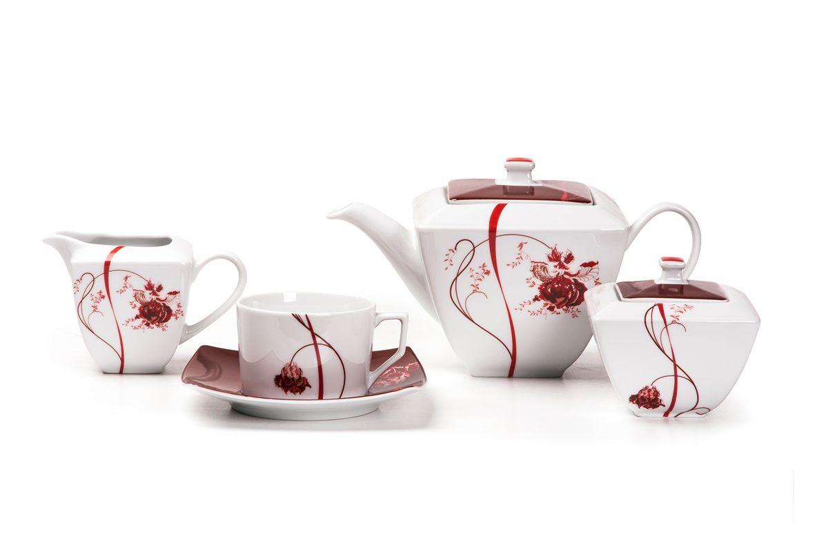 Сервиз чайный 15пр, цвет: белый с красным719510 0753Чайник 1,2л, сахарница 250мл, молочник 250мл, чайная пара 200 мл *6 штук. Фарфор фабрики Tunisie Porcelaine, производится в Тунисе из знаменитой своим качеством и белизной глины, добываемой во французской провинции Лимож.Преимущества этого фарфора заключаются в устойчивости к сколам и трещинам, что возможно благодаря двойному термическому обжигу. Европейский дизайн, декор и формы обеспечиваются за счет тесного сотрудничества фабрики с ведущими мировыми дизайн-бюро такими как: Nelly Reynal, Yves De la Rosiere, Sarah Anderson, Heracles. Материал: фарфор: цвет: белый с краснымСерия: KYOTO