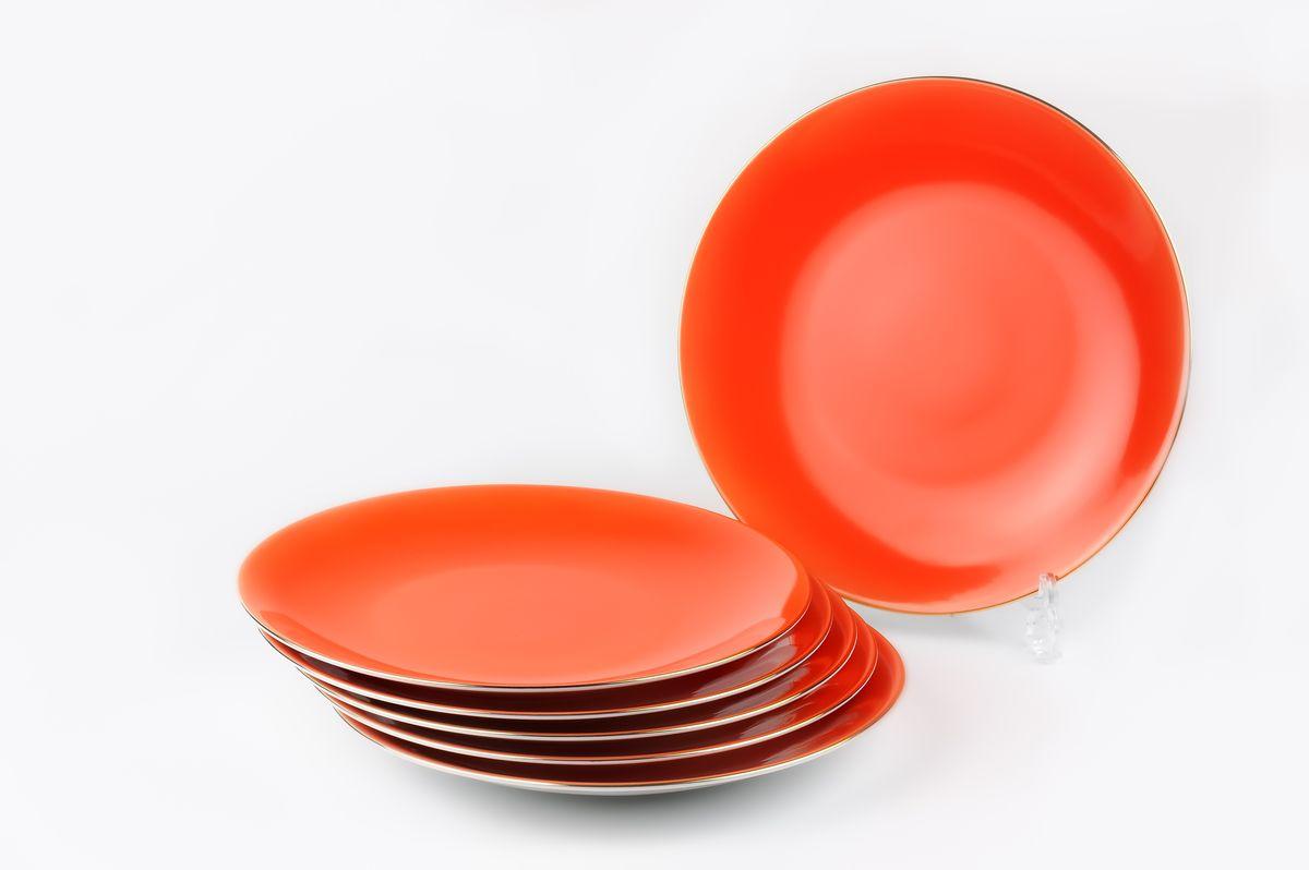 Monalisa 3127 Набор дессертных тарелок 21см*6 шт, цвет: оранжевый с золотом7291063127В наборе тарелка 21 см 6 штук Материал: фарфор: цвет: оранжевый с золотомСерия: MONALISA