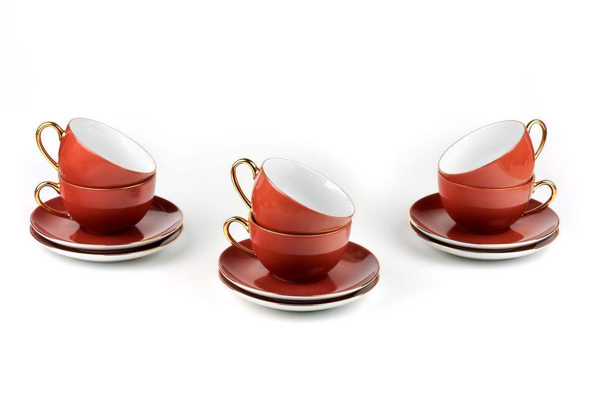 Monalisa 3126 набор чайных пар 220мл*6шт (12пр), цвет: мокко с золотом6195013126Чайная пара 220 мл * 6 штук/ 12 предметов Материал: фарфор: цвет: мокко с золотомСерия: MONALISA