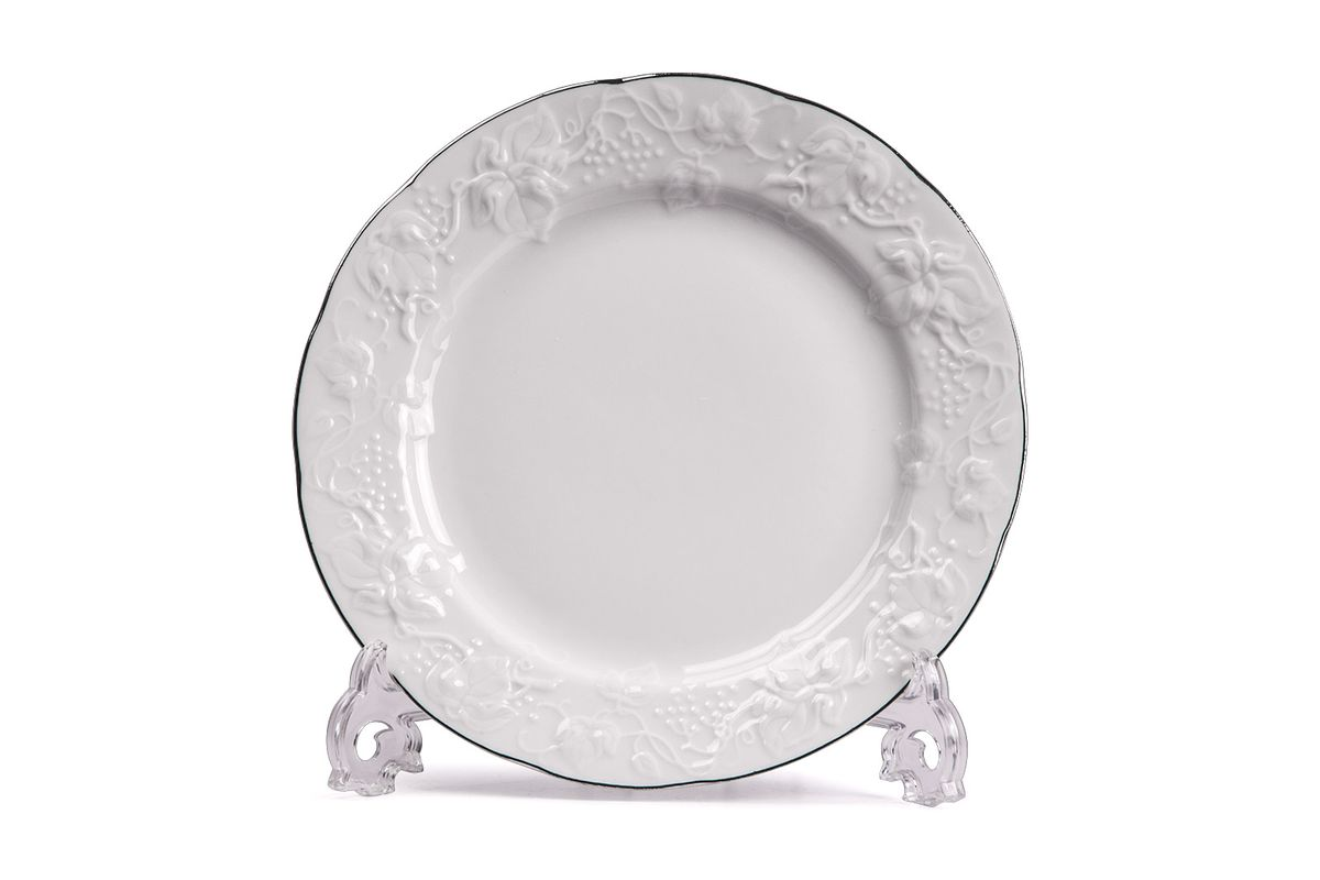 Тарелка десертная, 16 см, цвет: белый с платиной6901160019Тарелка десертная 16 см Материал: фарфор: цвет: белый с платинойСерия: VENDANGE