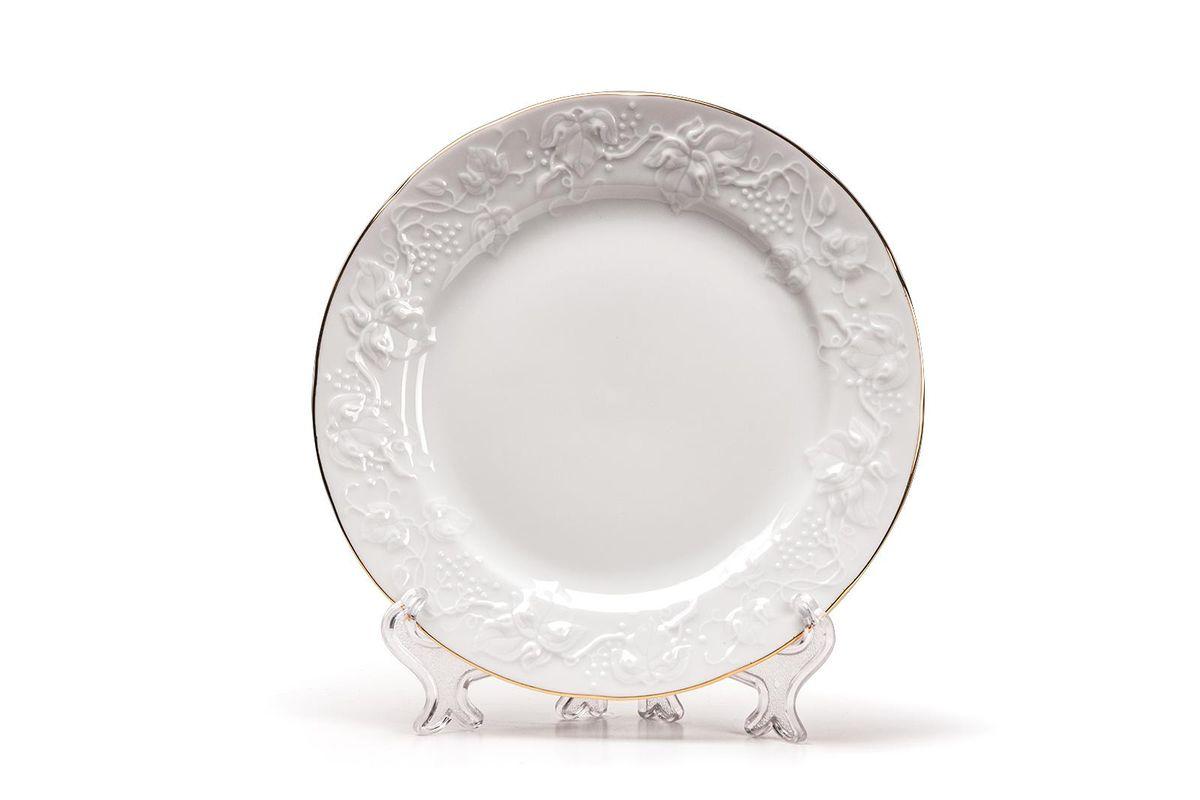 Тарелка десертная, 16 см, цвет: белый с золотом6901161009Тарелка десертная 16 см Материал: фарфор: цвет: белый с золотомСерия: VENDANGE