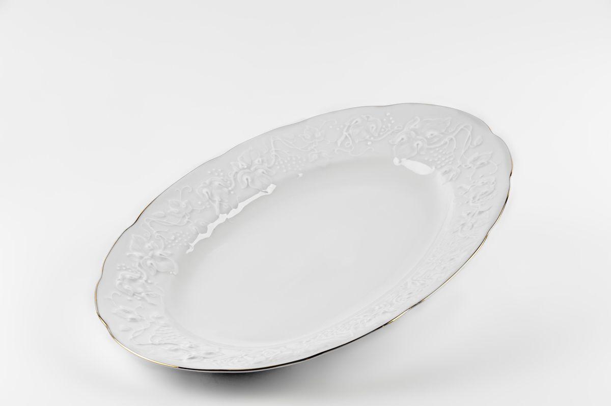 Блюдо овальное, 36 см, цвет: белый с платиной6912360019Блюдо овальное 36 см Материал: фарфор: цвет: белый с платинойСерия: VENDANGE