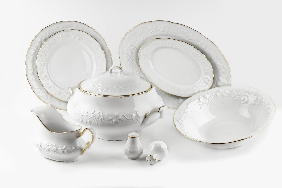 Элегантная посуда класса люкс теперь на вашем столе каждый день. Выполненные из высококачественного материала с использованием новейших технологий, предметы сервировки Tunisie Porcelaine невероятно прочны и прекрасно подходят для повседневного использования.  Материал: фарфор. Серия: Vendange. Состав набора:  Супница 3,5 л  Глубокая тарелка (22 см) 6 штук  Тарелка (26 см) 6 штук  Десертная тарелка (21 см) 6 штук  Солонка Перечница Блюдо овальное (24 см) Блюдо овальное (36 см)  Салатник (25 см) Соусник 450 мл.