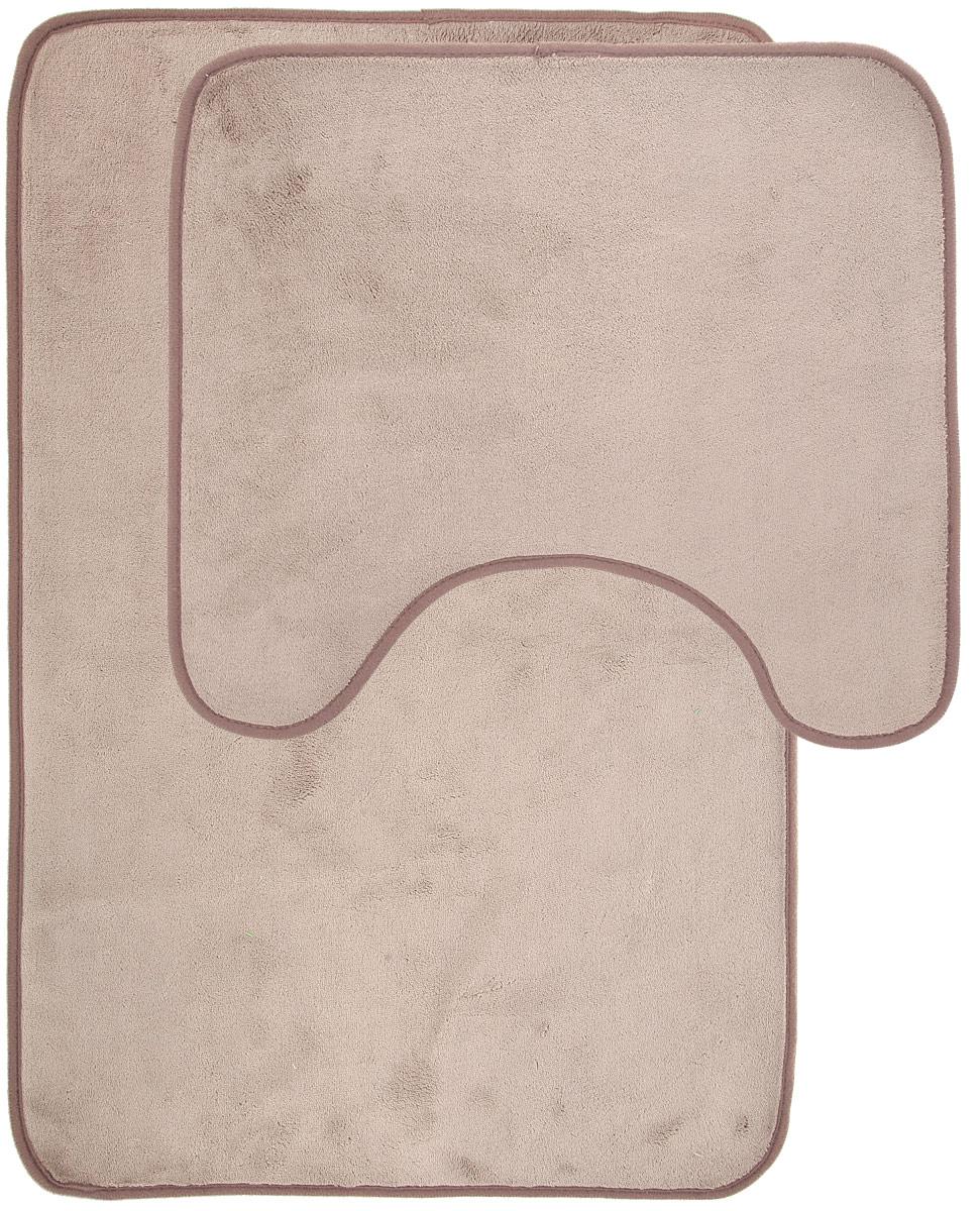 Набор ковриков для ванной Miolla, цвет: бежевый, серый, 2 штAB752BНабор Miolla состоит из двух ковриков для ванной комнаты: прямоугольного и с вырезом. Изделия изготовлены из 100% полиэстера. Благодаря специальнойобработки нижней стороны, коврики не скользят на плитке. Изделия послужат прекрасным дополнением к интерьеру и порадуют вас своей функциональностью. Размер ковриков: 75 см х 48 см, 45 см х 40 см. Высота ворса: 0,3 см.