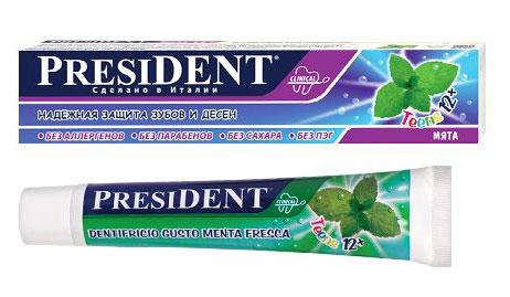 President Зубная паста Teens 12+, для подростков, со вкусом мяты, 50 мл18050Зубная паста PRESIDENT Teens 12+ предназначена для ежедневного ухода за формирующейся эмалью подростков. Стимулирует процессы реминерализации, предотвращает разрушение эмали и развитие кариеса. Мягко, бережно удаляет зубной налет.Прозрачный лазурно-голубой гель со стойким вкусом мяты придает длительную свежесть дыханию. Паста полностью безопасна в случае заглатывания. Содержит ксилитол и фтор в концентрации, рекомендованной Всемирной Организации Здравоохранения.Товар сертифицирован.УВАЖАЕМЫЕ КЛИЕНТЫ!Обращаем ваше внимание на ассортимент в дизайне упаковки товара. Поставка осуществляется в зависимости от наличия на складе.