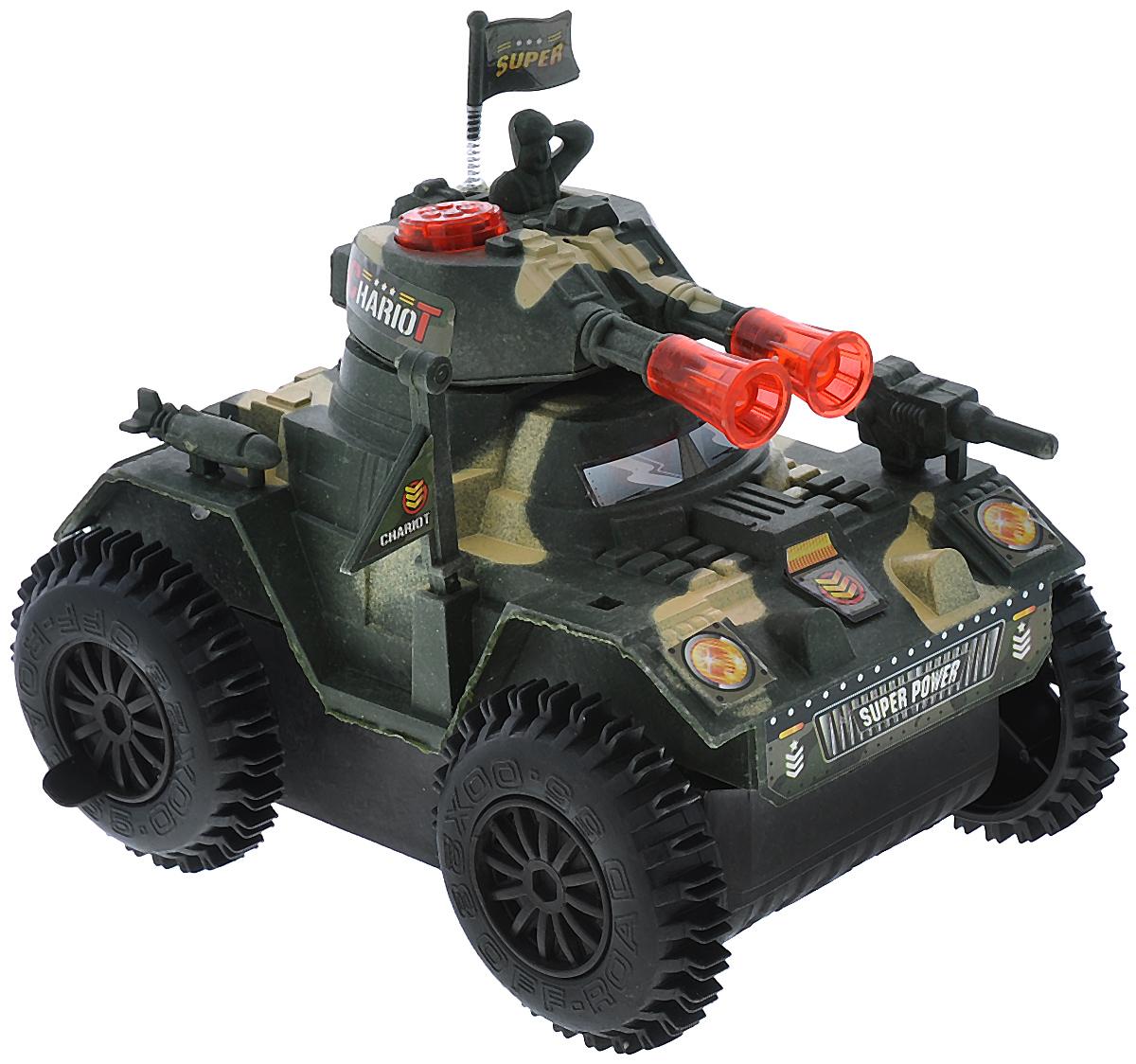 Junfa Toys Танк со световыми и звуковыми эффектами цвет зеленый бежевый