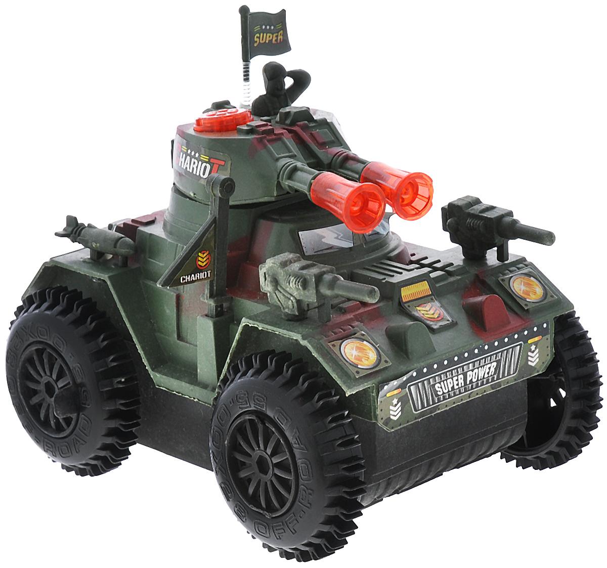 Junfa Toys Танк со световыми и звуковыми эффектами цвет зеленый красный