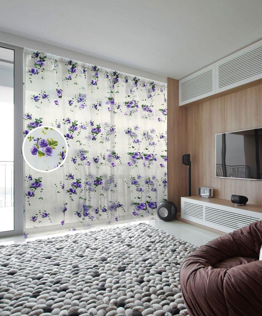 Тюль Zlata Korunka, на ленте, цвет: белый, фиолетовый, высота 250 см. 5555055550Тюль Zlata Korunka, изготовленный из органзы (100% полиэстера), великолепно украсит любое окно. Воздушная ткань и нежный цветочный рисунок привлекут к себе внимание и органично впишутся в интерьер помещения. Полиэстер - вид ткани, состоящий из полиэфирных волокон. Ткани из полиэстера - легкие, прочные и износостойкие. Такие изделия не требуют специального ухода, не пылятся и почти не мнутся.Тюль крепится на карниз при помощи ленты, которая поможет красиво и равномерно задрапировать верх. Такой тюль идеально оформит интерьер любого помещения.