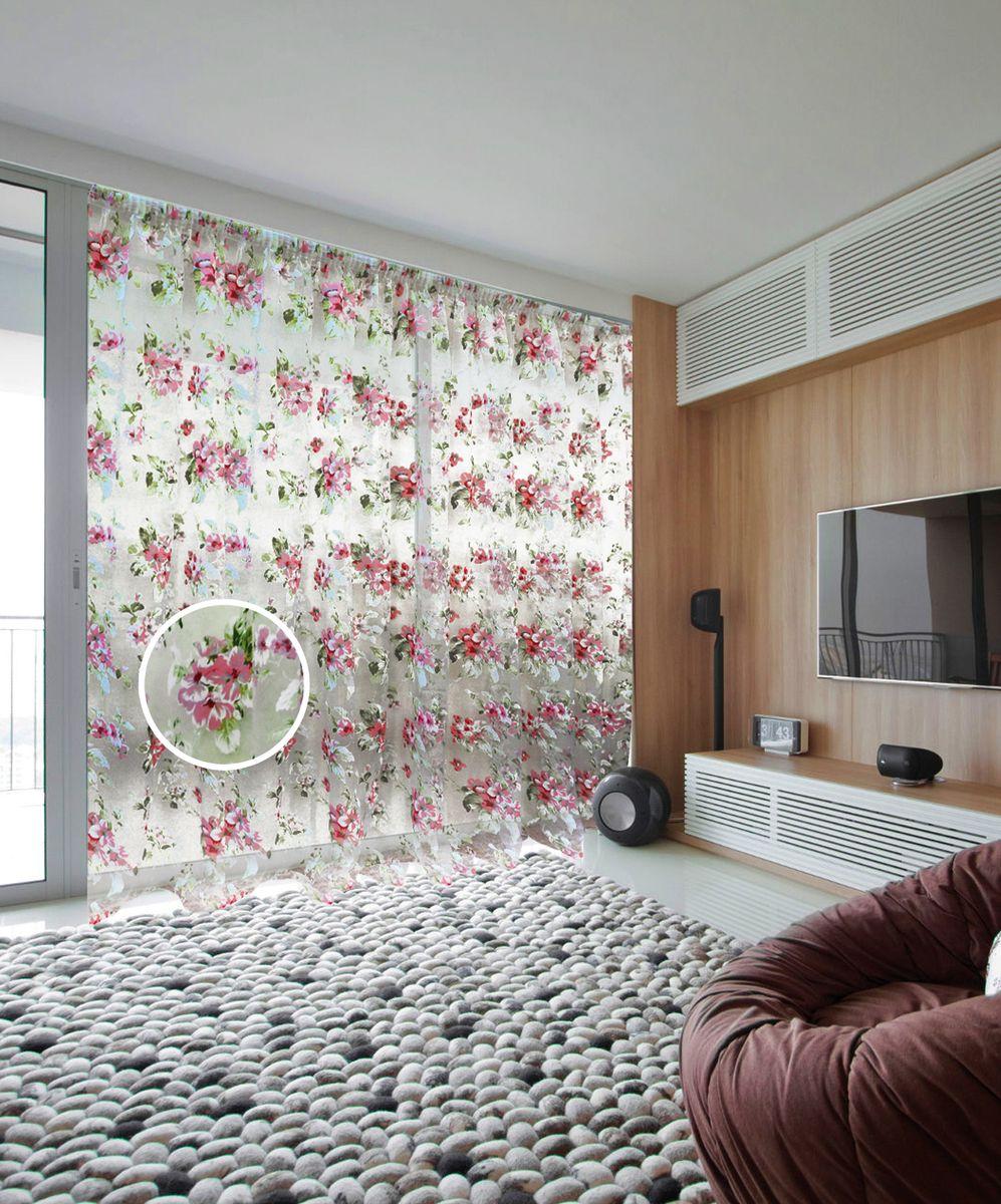 Тюль Zlata Korunka, на ленте, цвет: белый, розовый, высота 250 см. 5555155551Тюль Zlata Korunka, изготовленный из органзы (100% полиэстера), великолепно украсит любое окно. Воздушная ткань и нежный цветочный рисунок привлекут к себе внимание и органично впишутся в интерьер помещения. Полиэстер - вид ткани, состоящий из полиэфирных волокон. Ткани из полиэстера - легкие, прочные и износостойкие. Такие изделия не требуют специального ухода, не пылятся и почти не мнутся.Тюль крепится на карниз при помощи ленты, которая поможет красиво и равномерно задрапировать верх. Такой тюль идеально оформит интерьер любого помещения.