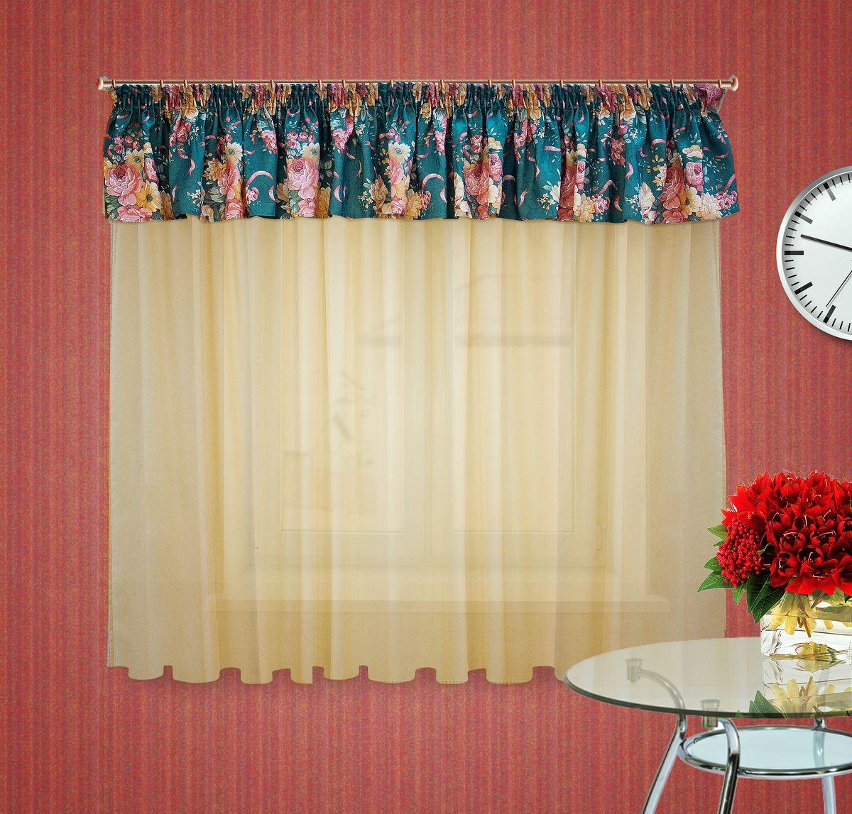 Тюлевое полотно Zlata Korunka. 5555455554Комплект штор на шторной ленте , Ламбрекен : 400*50см 1шт, ткань печатный сатен с орнаментом крупного цветка, Тюлевое полотно из вуали цвет: светлый беж размером: 300*180