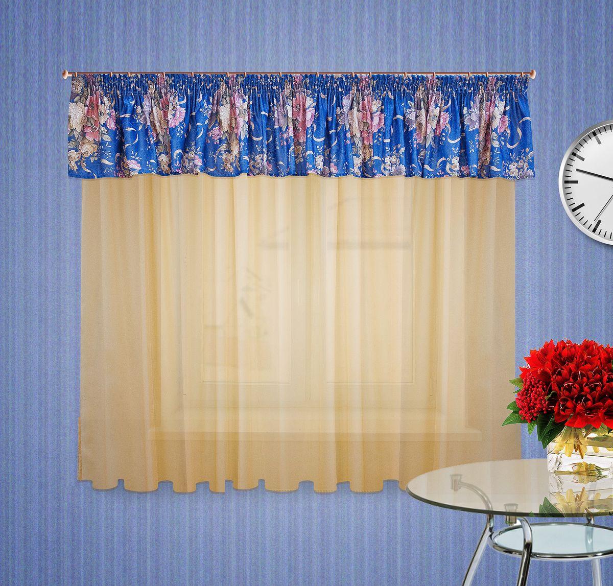 Тюлевое полотно Zlata Korunka. 5555555555Комплект штор на шторной ленте , Ламбрекен : 400*50см 1шт, ткань печатный сатен с орнаментом крупного цветка, Тюлевое полотно из вуали цвет: светлый беж размером: 300*180