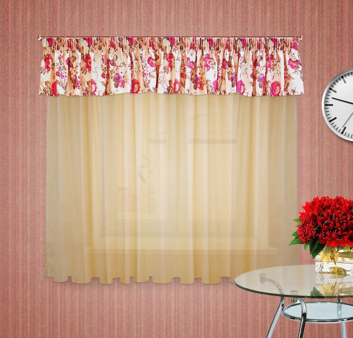 Тюлевое полотно Zlata Korunka. 5555655556Комплект штор на шторной ленте , Ламбрекен : 400*50см 1шт, ткань печатный сатен с орнаментом крупного цветка, Тюлевое полотно из вуали цвет: светлый беж размером: 300*180