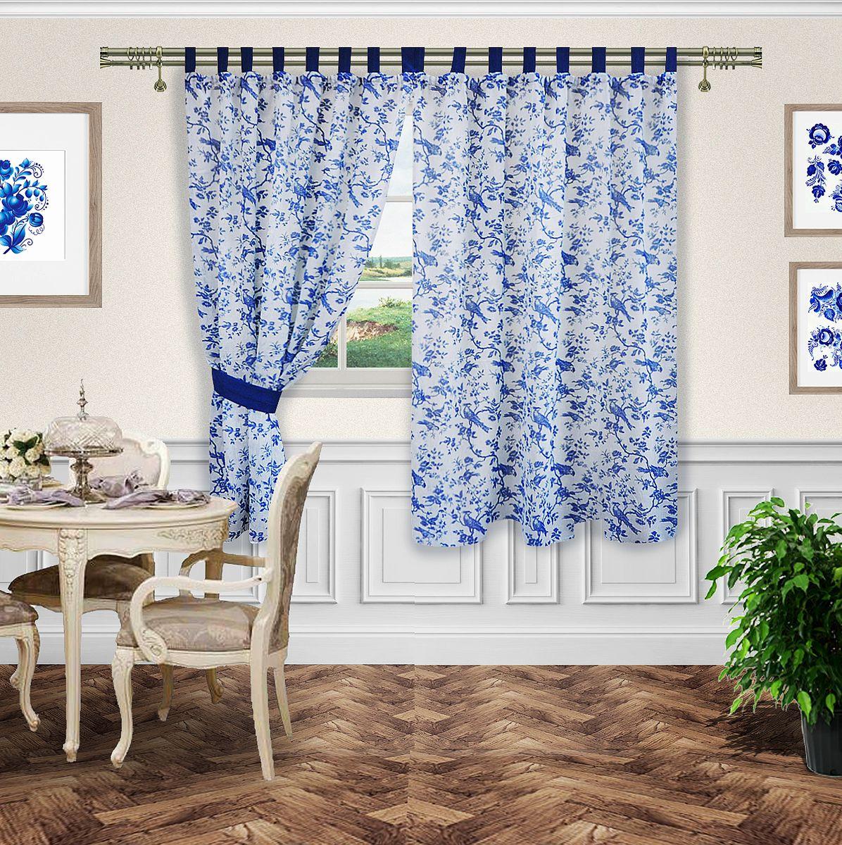 Комплект штор Zlata Korunka. 5556855568Комплект штор на петлях и шторной ленте ( однотонный лен)140*180-2шт и 2 подхвата ( леноднотонный)Ткань : под лен с рисуком  Гджель петли и подхваты лен однотонный синий
