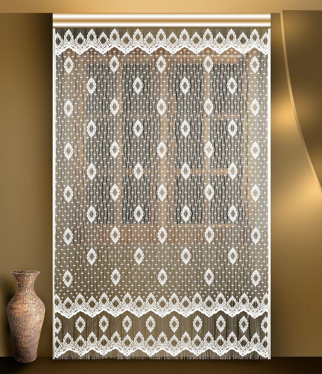 Гардина из тюле-кружевного полотна, крепление на зажимах для штор.
