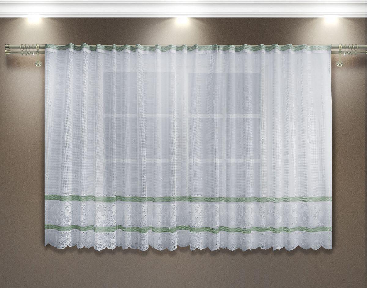 Гардина Zlata Korunka, цвет: белый, фисташковый, высота 160 см. 8886288862Гардина Zlata Korunka выполнена из тюле-кружевного полиэстерового полотна. Изделие станет великолепным украшением окна в зале или гостиной, спальне, а также кухне или столовой. Тонкое плетение и красивый дизайн привлекут к себе внимание и позволят гардине органично вписаться в интерьер. Оригинальный дизайн не оставит никого равнодушным и удовлетворит даже самый изысканный вкус. Верхняя часть гардины не оснащена шторной лентой. Крепить штору необходимо на зажимы.