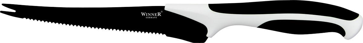 Нож для томатов Winner, цвет: черный, белый, длина лезвия 14,2 смWR-7222_черный, белыйНож Winner изготовлен из высококачественной нержавеющей стали с цветным полимерным покрытием Xynflon. Нож имеет острое лезвие, а благодаря специальному покрытию он держит заводскую заточку в несколько раз дольше, чем обычные стальные ножи. Продукты, которые вы нарезаете таким ножом, не прилипают к лезвию ножа, не вступают в химическую реакцию, не окисляются и не намагничиваются. Эргономичная рукоятка выполнена из высококачественного прорезиненного пластика. Рукоятка не скользит в руках и делает резку удобной и безопасной. Такой нож желательно использовать для нарезки овощей. Этот нож будет служить вам многие годы при соблюдении простых правил.Можно мыть в посудомоечной машине.Общая длина ножа: 24,7 см. Длина лезвия: 14,2 см. Толщина лезвия: 1,2 мм.