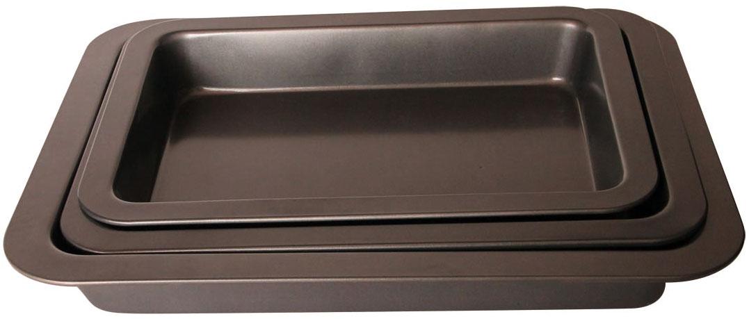 Набор противней BK-3986 из 3 предметовBK-398634,5*24,5*5/37.5*27*5.5/42*32*5.5см, корпус 0,4мм, антиприг. покрытие Goldflon . Состав: углеродистая сталь.