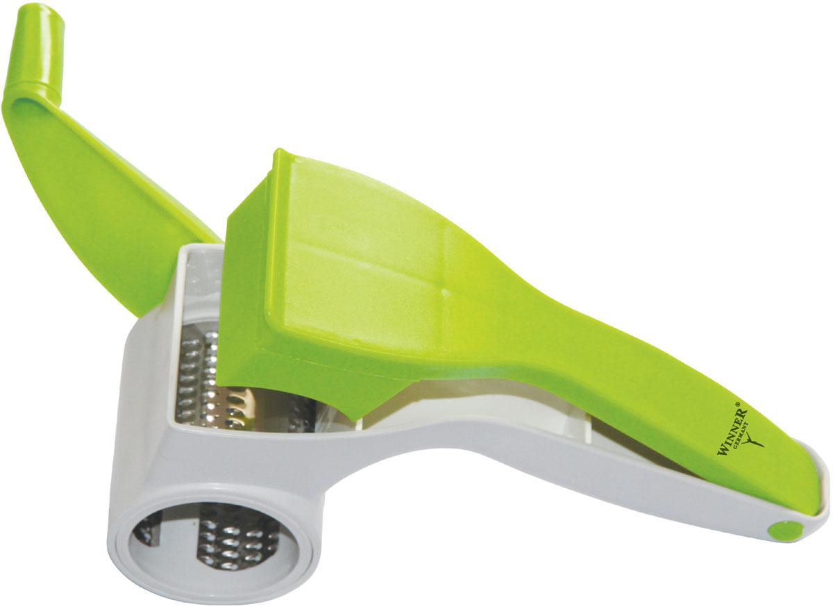 """Измельчитель """"Winner"""" практичный инструмент для шинковки и нарезки зелени, овощей, орехов,  шоколада, чеснока, специй и других. Острый нож цилиндрической формы с отверстиями  обеспечивает безупречное измельчение продуктов. В процессе работы поворачивается нож с  помощью ручки, поэтому использовать такой измельчитель будет очень удобно и безопасно.  Механическая конструкция не требует никакого питания, поэтому её можно использовать даже на  даче или природе. Измельчитель работает практически бесшумно. Нож цилиндрической  формы из нержавеющей стали режет в разных направлениях, это гораздо безопаснее и быстрее,  чем нарезка кухонным ножом.  Имеет широкое применение - подходит для нарезки овощей, фруктов, орехов, сыров, грибов,  зелени.  Корпус измельчителя сделан из прочного пластика, который легко мыть и сушить. Есть  встроенная ручка для упрощения процесса измельчения.  В наборе: нож цилиндрический из нержавеющей стали; корпус;  держатель для ножа; крышка-толкатель; ручка."""