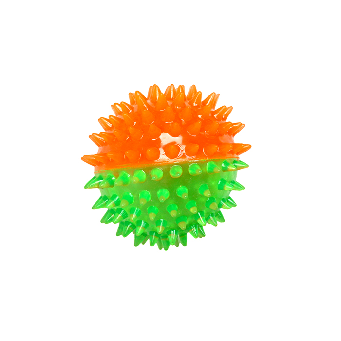 Игрушка для собак Ziver Мяч игольчатый, с пищалкой, цвет: зеленый, оранжевый, диаметр 7 см40.ZV.138Игрушка Ziver Мяч игольчатый изготовлена из высококачественного пластика с использованием только безопасных, не токсичных красителей. Игрушка выполнена в виде мяча и при переворачивании игрушка издает звук. Привлечет внимание вашего любимца, позволит весело провести ему время, не навредит здоровью, а также поможет вам сохранить в целости личные вещи и предметы интерьера.Рифленая игольчатая поверхность игрушки прекрасно массирует десна. В специальное отверстие можно положить лакомство в процессе дрессировки.Диаметр мяча: 7 см.