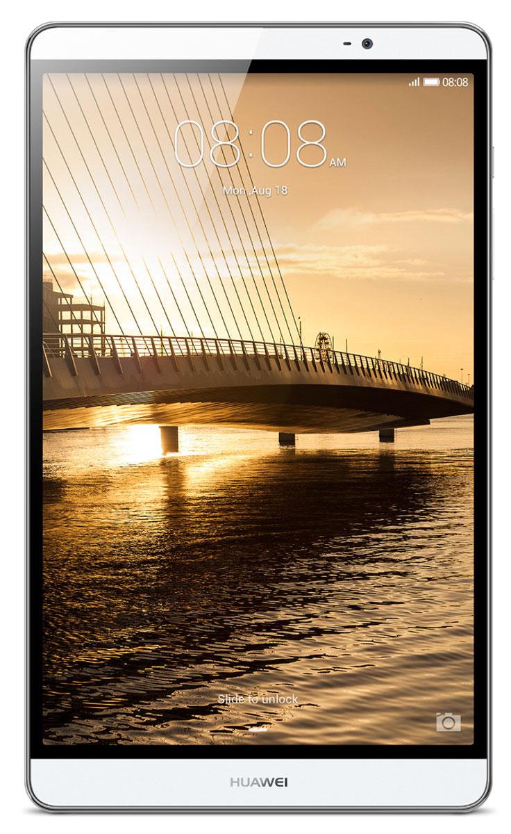 Huawei MediaPad M2 8.0 LTE (16GB), Silver53017935Чистые линии и сглаженные края алюминиевого корпуса нового планшетного ПК Huawei MediaPad M2 8.0 LTE выделяют его из ряда планшетов этого класса. Толщина планшета всего 7,8 мм! Стильный, эргономичный дизайн вашего планшета с тонкой рамкой обязательно обратит на себя внимание.Суперчеткий экран (разрешение 1920 х 1200) и кристально чистое стереозвучание, обеспечиваемое двумя динамиками и технологией DTS, подарят вам незабываемые ощущения при просмотре видео или прослушивании музыки.Высокая производительность и длительное время работы без подзарядки достигаются благодаря 8-ядерному процессору и батарее 4800 мАч. Huawei MediaPad M2 8.0 LTE – превосходное устройство для по-настоящему бескомпромиссных пользователей.Планшетный ПК Huawei MediaPad M2 8.0 LTE совместим с умными часами Huawei Talk Band, первым в мире устройством, объединяющим в себе функции Bluetooth-гарнитуры и умных часов.Talk Band поддерживает до 7 часов разговора (в режиме голосовых вызовов) и до 2 недель без подзарядки в режиме ожидания. Также это совершенно незаменимый помощник при занятиях спортом.Собираетесь в путешествие? Планшет Huawei MediaPad M2 8.0 LTE – это еще и незаменимый GPS-навигатор. С MediaPad M2 все ваши маршруты будут максимально оптимальными, а ваш путь – действительно удобным и комфортным благодаря его точным и своевременным подсказкам.Планшетный компьютер имеет сертификат Ростест, русифицированное меню и Руководство пользователя.