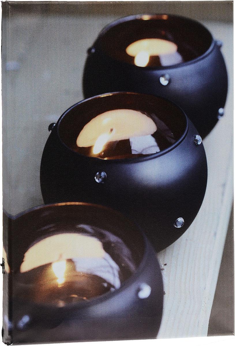 Картина MTH Три свечи, со светодиодами, 30 см х 40 смled3040-02Картина MTH Три свечи выполнена на основе из МДФ, обтянутой холстом.Изделие оснащено светодиодами. Их теплый мерцающий в темноте светоживит ваш дом и добавит ему уюта. На картине изображены 3 декоративные свечи. Благодаря светодиодной подсветке создается ощущение, что теплый свет, исходящий от свечей, действительно может согревать. С оборотной стороны картина оснащена специальным отверстием для подвешивания на стену.Необычная картина придаст интерьеру невероятного шарма и оригинальности.Рисунок успокаивает нервную систему, помогая расслабиться и отвлечься отповседневных забот. Подсветка работает от 2 батареек типа АА напряжением 1,5V (в комплект не входят).