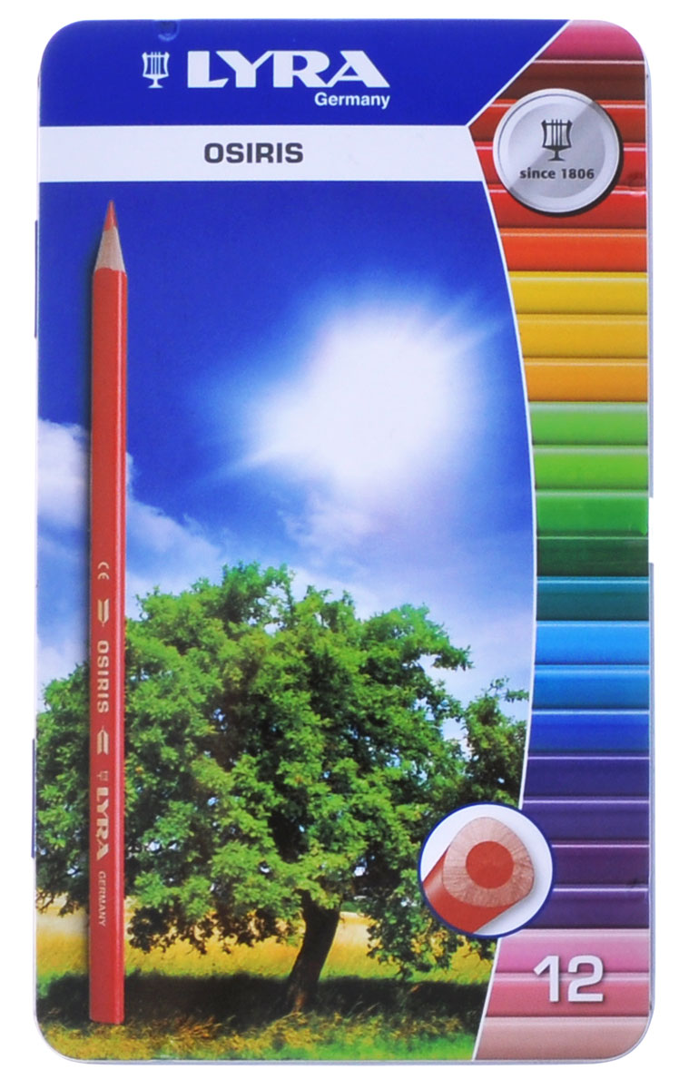 Lyra Набор цветных карандашей Osiris Зеленое дерево 12 штL2521133_зеленое деревоЦветные карандаши Lyra Osiris непременно понравятся вашему юному художнику.Набор включает в себя 12 ярких насыщенных цветных карандаша треугольной формы для удобного захвата. Идеально подходят для школы. Карандаши изготовлены из дерева, экологически чистые, с лакированным покрытием. Имеют прочный неломающийся грифель, не требующий сильного нажатия и легко затачиваются. Упакованы в удобный металлический пенал. Порадуйте своего ребенка таким восхитительным подарком! В комплекте: 12 карандашей.