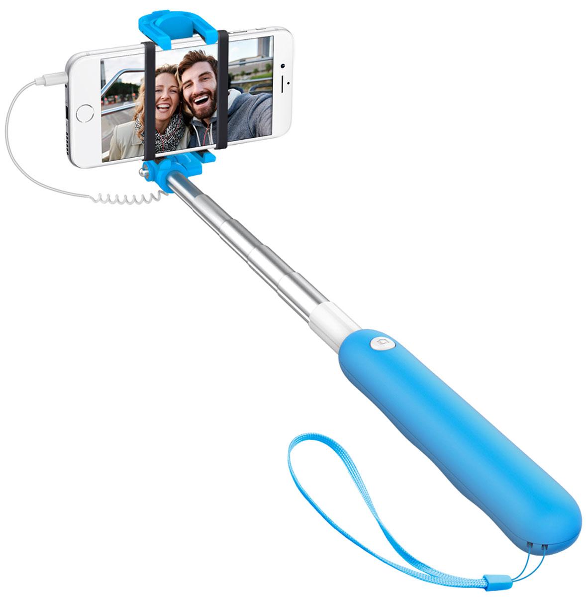 Deppa монопод для селфи, Blue (72 см)45000Deppa- ручной телескопический монопод для проведения фото и видеосъемки с максимальной нагрузкой 1 килограмм. Удобная ручка монопода изготовлена из ABS - пластика с покрытием Soft Touch. Для управления имеется удобно расположенная кнопка на рукоятке. Подключается к смартфону через разъем 3,5 мм.
