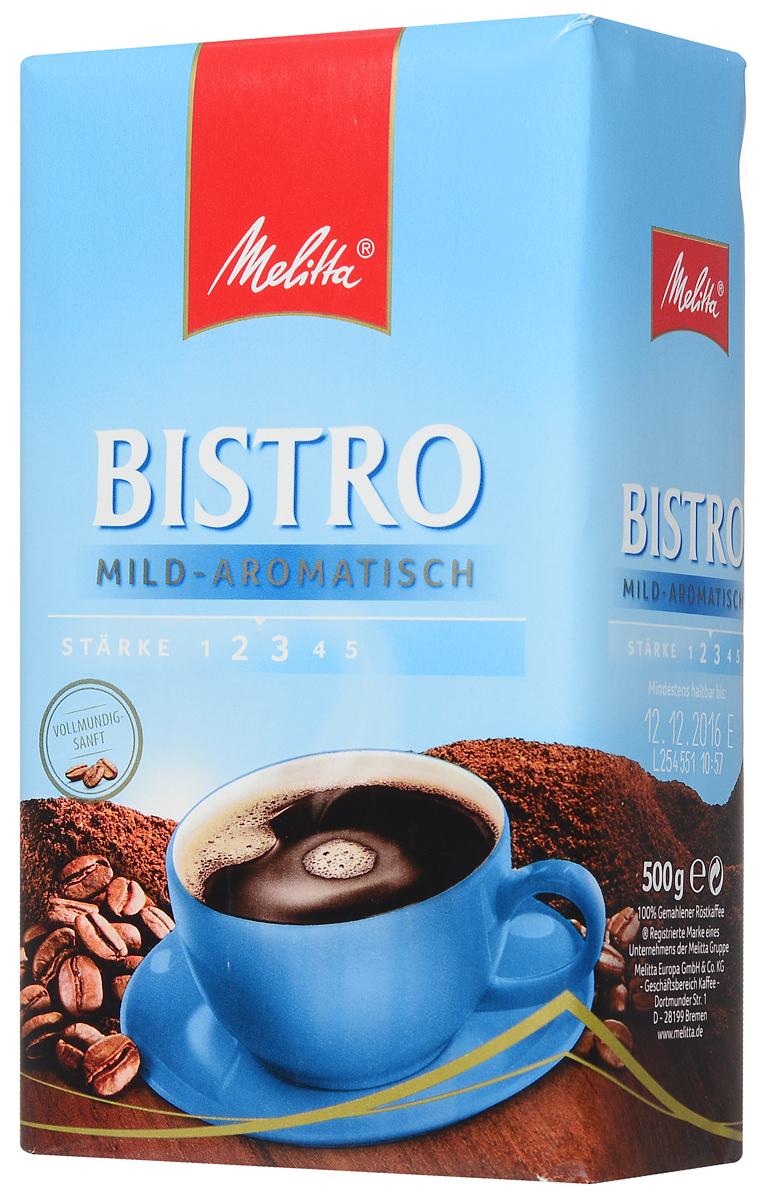 Melitta Bistro Mild-Aromatisch молотый кофе, 500 г13427Melitta Bistro Mild-Aromatisch - мягкий ароматный кофе с кислинкой. Напиток идеально сочетается со сладостями. Рекомендован для приготовления в кофеварках.