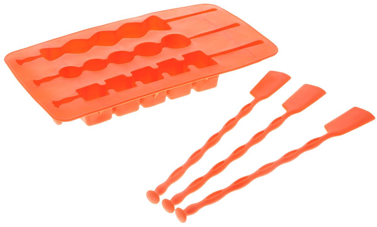 Форма для льда Fackelmann, на палочке, цвет: оранжевый, 3 ячейки49392_оранжевыйФорма Fackelmann выполнена из силикона и предназначена для приготовления льда на палочке. В комплект входят палочки для льда. Теперь на смену традиционным квадратным пришли новые оригинальные формы для приготовления фигурного льда, которыми можно не только охладить, но и украсить любой напиток. В формочки при заморозке воды можно помещать ягодки, такие льдинки не только оживят коктейль, но и добавят радостного настроения гостям на празднике!Можно мыть в посудомоечной машине.Размер формы: 20 х 11 х 2 см. Средний размер ячейки: 18,5 х 2,5 х 2 см. Количество ячеек: 3 шт. Количество палочек: 3 шт.